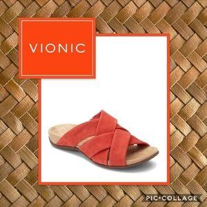 Vionic Juno Red Slide Sandals Size 6